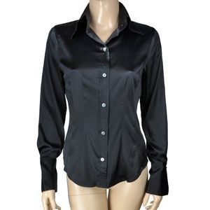The Limited Silk Fitted Black Collared Long Sleeve